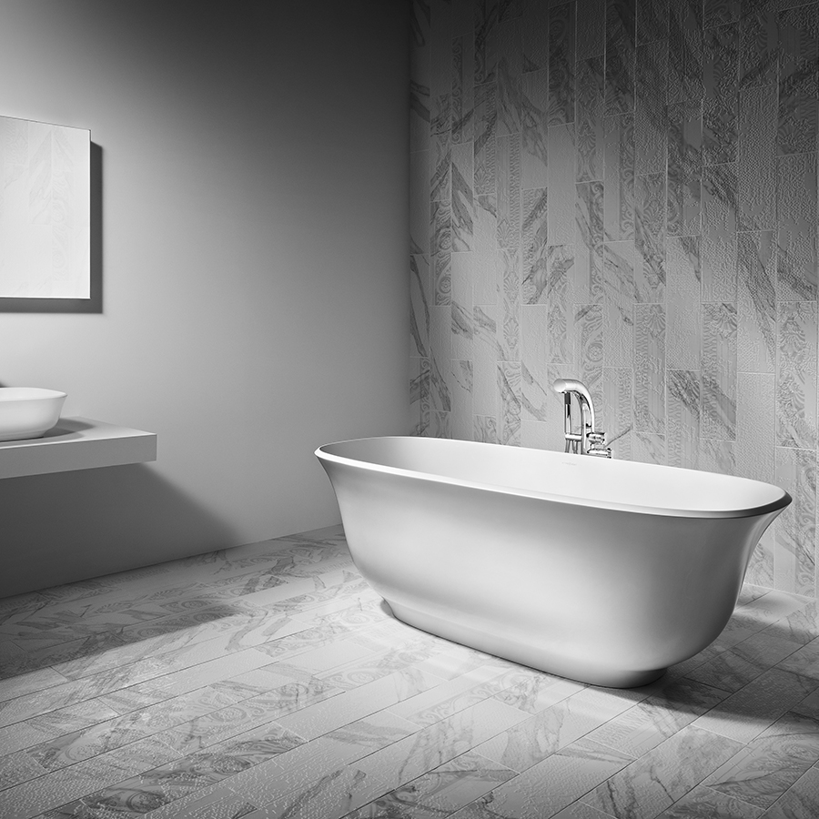 Victoria + Albert Amiata bath in volcanic limestone is distributed in Quenesland by Luxe by Design, Brisbane.