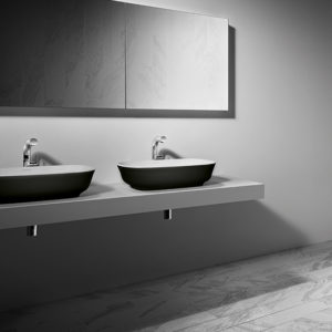 Josh and Charlotte's master ensuite features the Matte Black Amiata basin by Luxe by Design and Victoria + Albert. Buy matte black bath through our stockists today.
