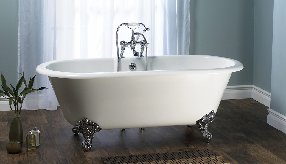 Victoria + Albert Cheshire traditional bath in volcanic limestone is distributed in Quenesland by Luxe by Design, Australia.