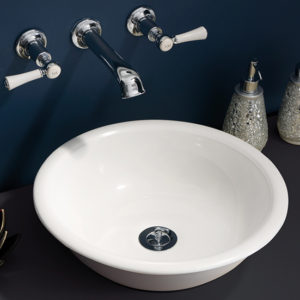 Victoria + Albert Drayton 40 basin in volcanic limestone is distributed in Queensland by Luxe by Design, Brisbane.