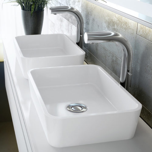 Victoria + Albert Edge 45 basin in volcanic limestone is distributed in Queensland by Luxe by Design, Brisbane.