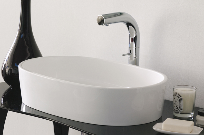 Victoria + Albert Ios 54 basin in volcanic limestone is distributed in Queensland by Luxe by Design, Brisbane.