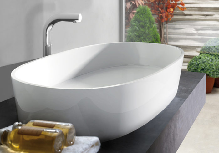 Victoria + Albert Ios 80 basin in volcanic limestone is distributed in Queensland by Luxe by Design, Brisbane.