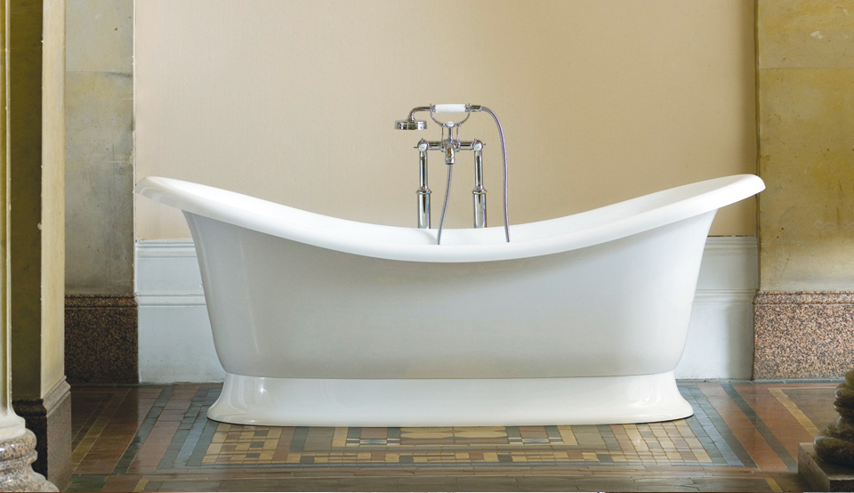 Victoria + Albert Marlborough traditional bath in volcanic limestone is distributed in Quenesland by Luxe by Design, Australia.
