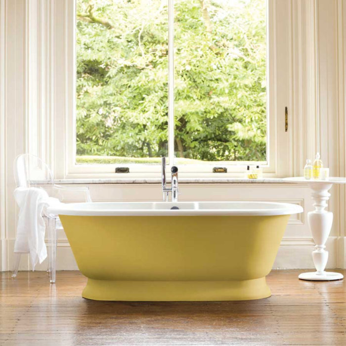 Victoria + Albert York traditional bath in volcanic limestone is distributed in Queensland by Luxe by Design, Australia.