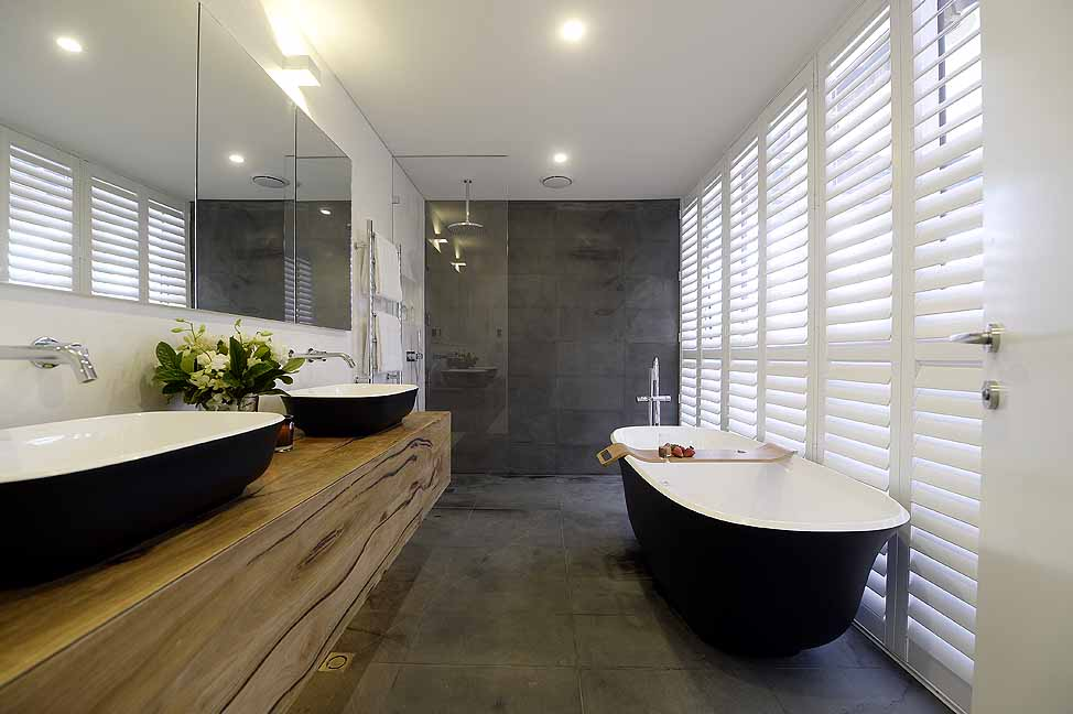 Matte black amiata bath wins the block master ensuite for Best bathrooms in australia