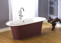 Victoria + Albert Monaco bath in burgundy paint finish.