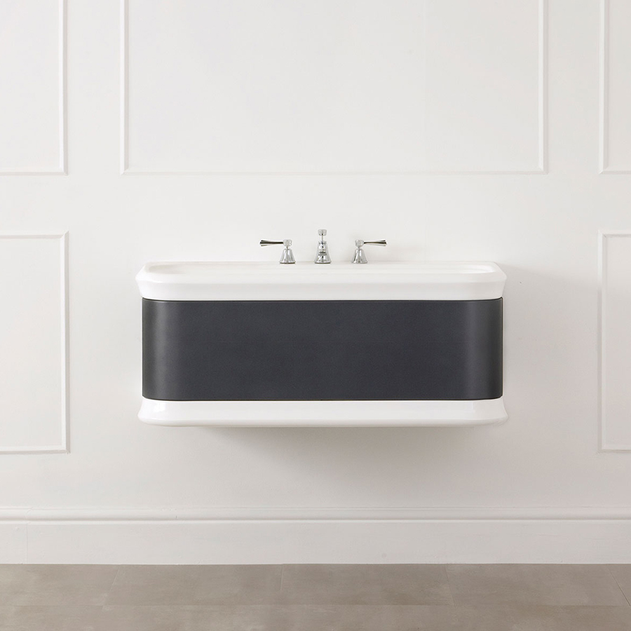 Victoria + Albert Lario 100 Volo solid wood bathroom vanity with integrated volcanic limestone basin top. Distributed in Australia by Luxe by Design, Brisbane.