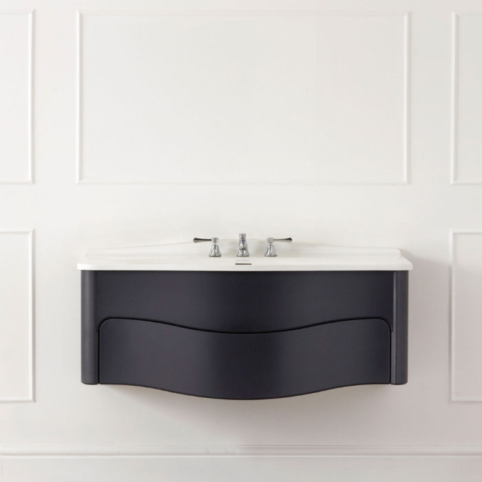 Victoria and Albert Mandello 114 Volo Anthracite bathroom vanity with integrated sink and real wood construction. Distributed in Australia by Luxe by Design, Brisbane.