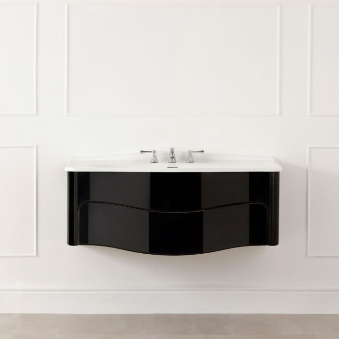 Victoria and Albert Mandello 114 Volo Black bathroom vanity with integrated sink and real wood construction. Distributed in Australia by Luxe by Design, Brisbane.