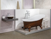 Victoria + Albert Gallery showroom display at Domayne Alexandria. Henna custom coloured Shropshire bath and Drayton 40 basin