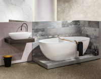 Victoria + Albert Gallery showroom display at Domayne Alexandria. Barcelona bath and Barcelona 64 basin with Tombolo 10 White bath caddy