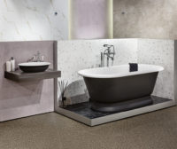 Victoria + Albert Gallery showroom display at Domayne Alexandria. Anthracite York bath and Radford 51 basin