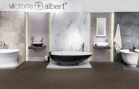Victoria + Albert Gallery showroom display at Domayne Alexandria. Matte black Napoli bath and basin with napoli headrest