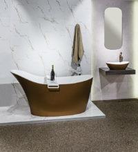 Victoria + Albert Gallery showroom display at Domayne Alexandria. Sienna metallic amalfi bath and amalfi basin