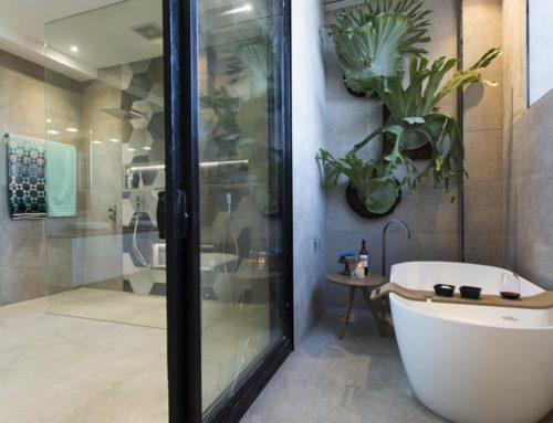 The Block – Timber Bath Rack in Kim and Chris' Bathroom