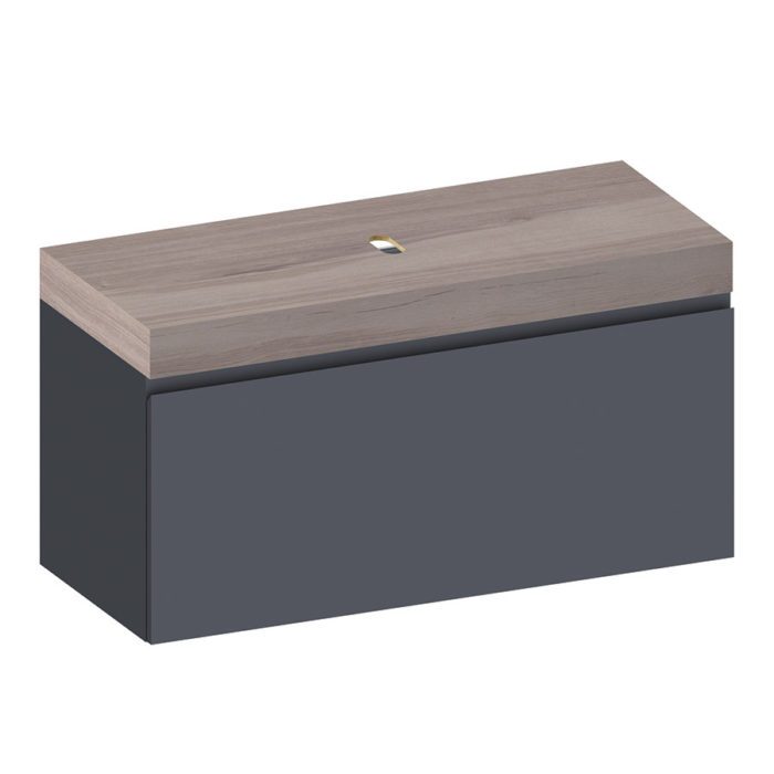 Kokoon Elements 120cm matte graphite cabinet with HPL rovere wafer top. Luxe by Design Australia