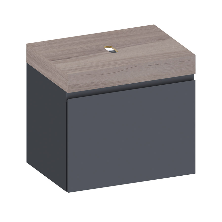 Kokoon Elements 70cm matte graphite cabinet with HPL rovere wafer top. Luxe by Design Australia