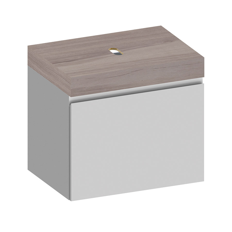 Kokoon Elements 70cm matte white cabinet with HPL rovere wafer top. Luxe by Design Australia