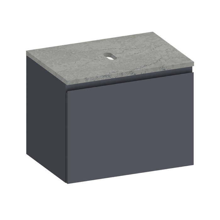 Kokoon Elements 70cm matte graphite cabinet with fumo stone top. Luxe by Design Australia