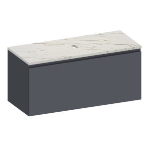 Kokoon Elements 120cm matte graphite cabinet with Vena d'oro stone top. Luxe by Design Australia