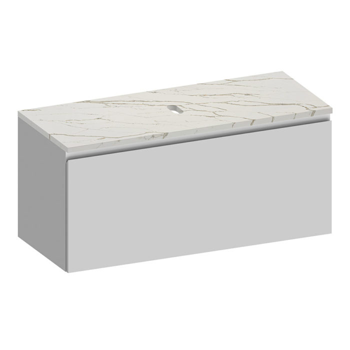 Kokoon Elements 120cm matte white cabinet with Vena d'oro stone top. Luxe by Design Australia