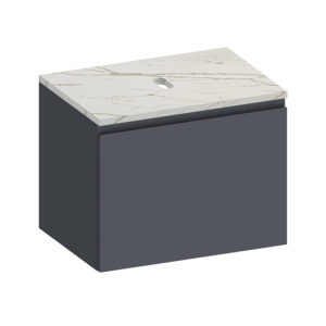 Kokoon Elements 70cm matte graphite cabinet with Vena d'oro stone top. Luxe by Design Australia