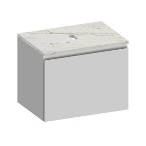 Kokoon Elements 70cm matte white cabinet with Vena d'oro stone top. Luxe by Design Australia