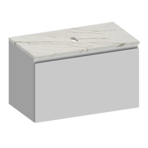 Kokoon Elements 90cm matte white cabinet with Vena d'oro stone top. Luxe by Design Australia