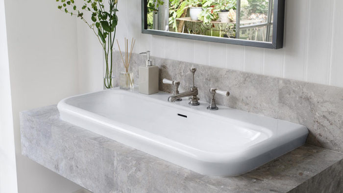 Victoria + Albert Lario 100 Solo recess mounted stone washbasin - distributed in Australia by Luxe by Design, Brisbane.