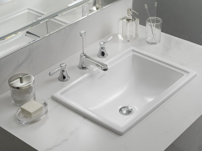 Victoria + Albert Pembroke 52 recess mounted stone washbasin - distributed in Australia by Luxe by Design, Brisbane.