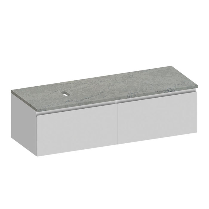 Kokoon Elements 140cm matte white cabinet with Fumo concrete stone top. Luxe by Design Australia